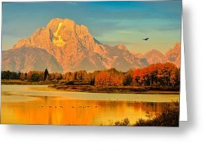 Autumn Dawn at Oxbow Bend Greeting Card