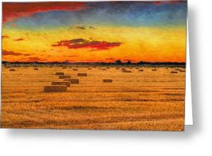 Impressionist Hay Fields Greeting Card