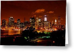 Manhattan Night Skyline Greeting Card